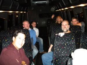 Demand Studios Contributors on the shuttle bus - we're returning to our hotel after the Mixer.