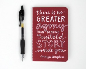 Win a Hand-Lettered Mini Journal With a Maya Angelou Quote!
