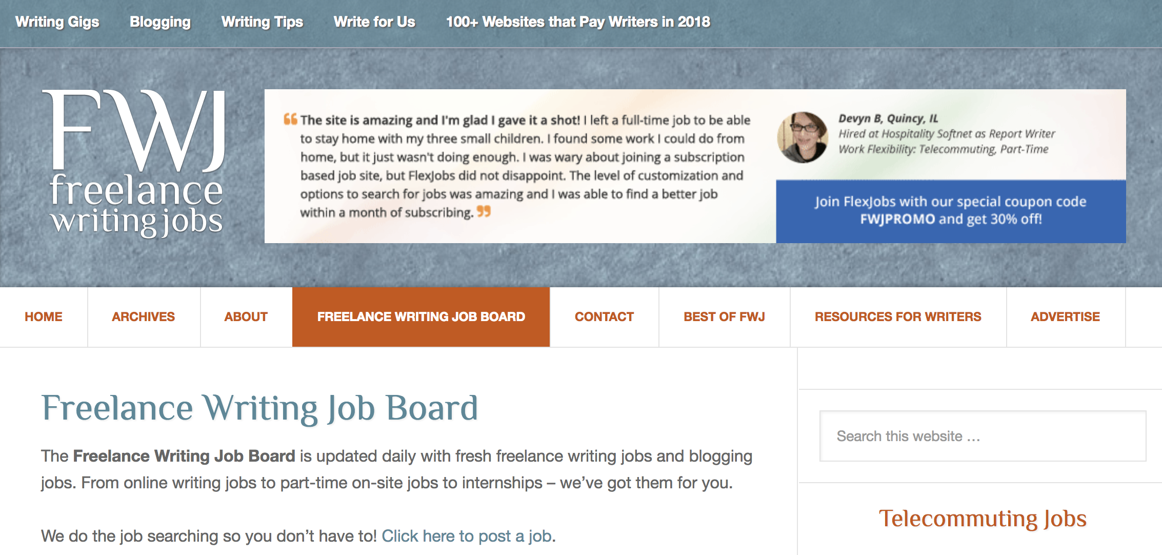 freelance writing job board